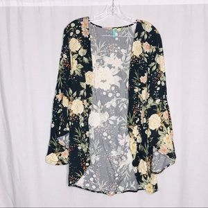 Farm Multi Color Floral Open Bell Sleeve Jacket OS